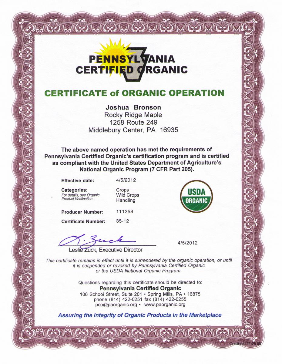 USDAorganicCertificate